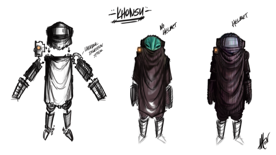 "The original concept for ""Khonsu"" from my newest title Trigger Saint."